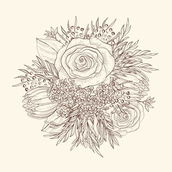 Ручной рисунок старинного цветочного букета