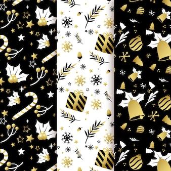 黒と金色のクリスマスパターンコレクション