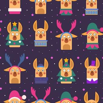 Забавный рождественский узор с оленями