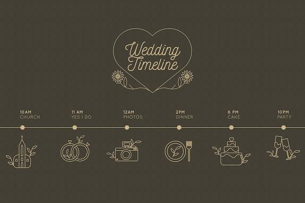 直線的なスタイルの結婚式のタイムライン
