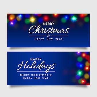 Счастливых праздников размыты рождественские баннеры