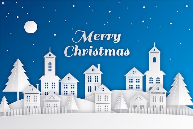 Красивый рождественский городок в бумажном стиле