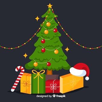 フラットなデザインの美しいクリスマスツリー