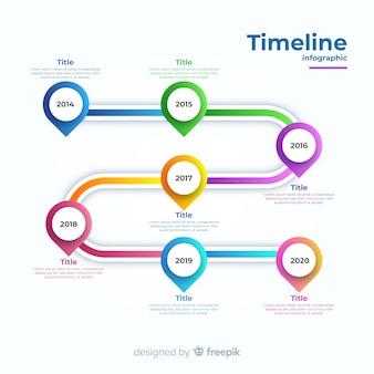 グラデーションタイムラインビジネスインフォグラフィック