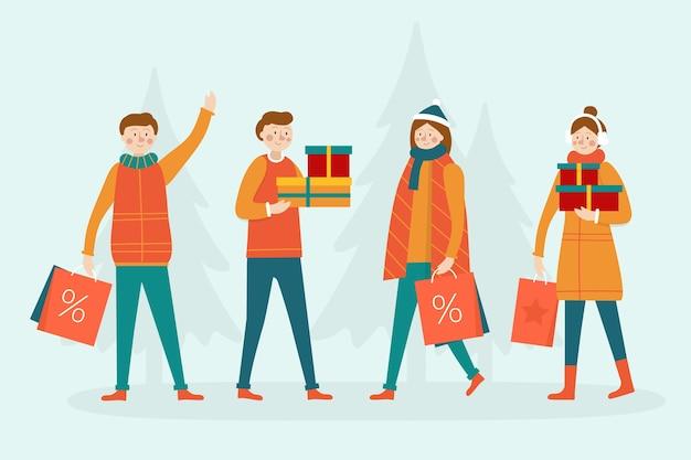Люди покупают рождественские подарки с деревьями в фоновом режиме