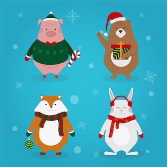 Рождественская коллекция персонажей плоский дизайн стиль