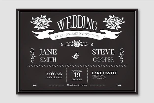 Старинный свадебный шаблон приглашения на доске