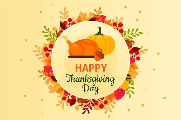 День благодарения фон в плоском дизайне