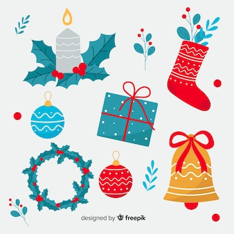 フラットなデザインでカラフルなクリスマスの装飾