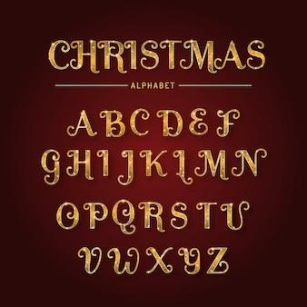 Золотой сверкающий рождественский алфавит