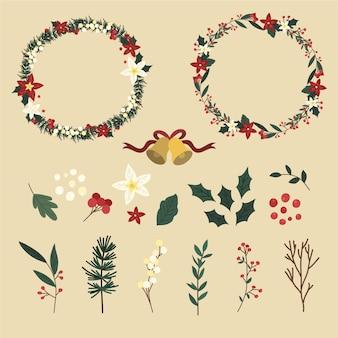 Коллекция рисованной рождественский цветок и венок