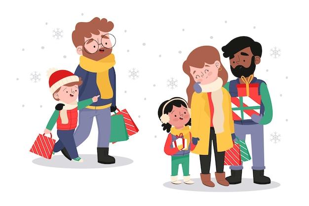 Семья покупает рождественские подарки