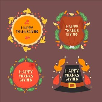 Нарисованная рукой коллекция значка благодарения