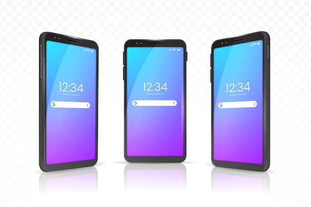 さまざまなビューのケース付きの現実的なスマートフォン