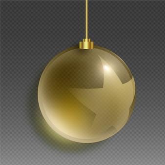 Хрустальный елочный шар в золотых тонах и звезда