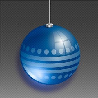 Хрустальный елочный шар в голубых тонах с кругами