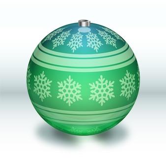 Хрустальный елочный шар в зеленых тонах со снежинками