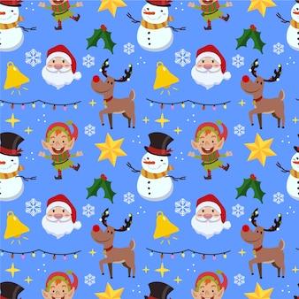 Забавный рождественский узор со снеговиком и оленем