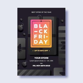 Плоский дизайн черная пятница флаер шаблон
