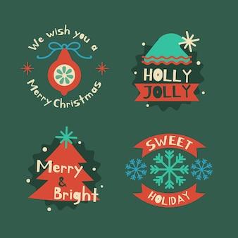 Плоский дизайн рождественская коллекция значков