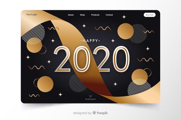 フラットなデザインの新年のランディングページ