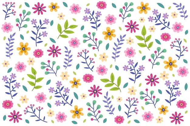シームレスな花柄デイジーホワイトバックグラウンド