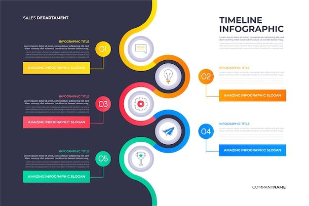Плоский дизайн график инфографики шаблон