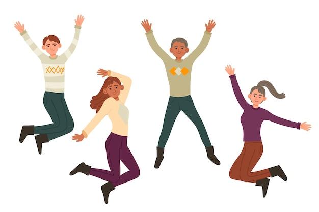 Молодые люди в зимней одежде прыгают иллюстрации