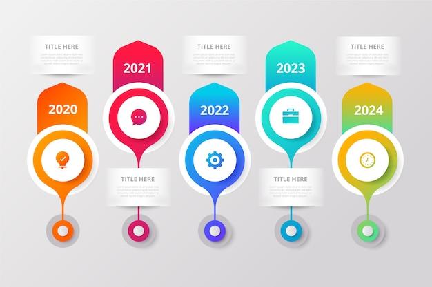 Красочный градиент временной шкалы инфографики