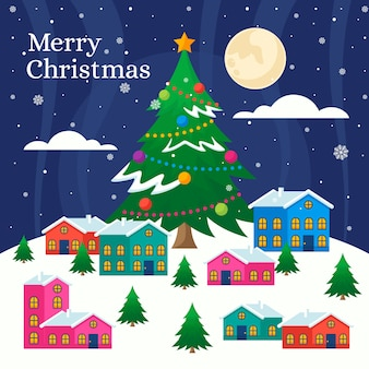 フラットなデザインのクリスマスタウンの背景の壁紙