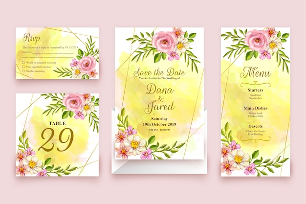 Цветочный шаблон свадебных канцтоваров
