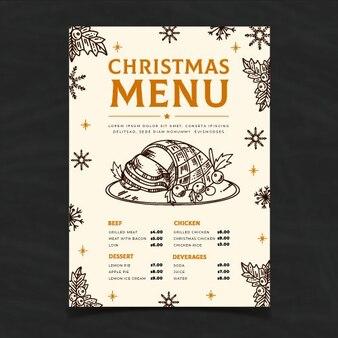 手描きクリスマスメニューテンプレート