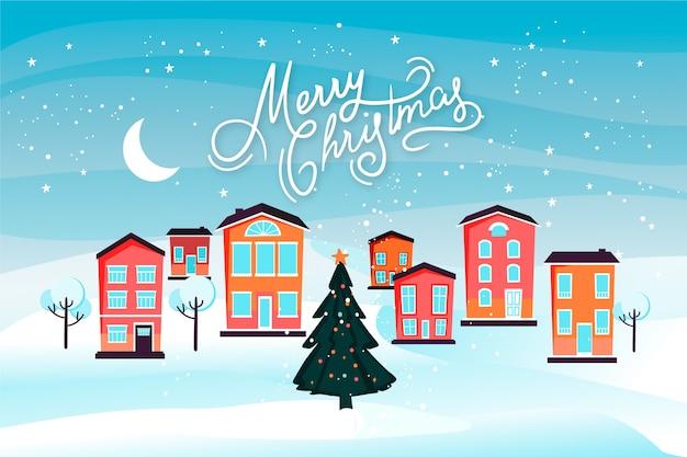 手描きのクリスマスタウンの壁紙