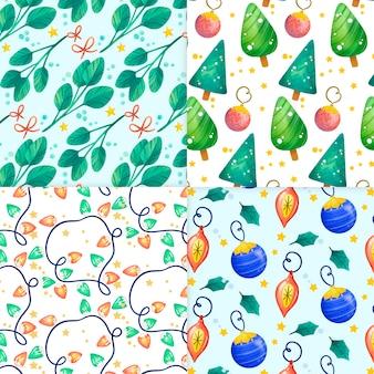 水彩のクリスマスパターンセット