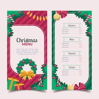 クリスマスメニューテンプレートフラットデザイン
