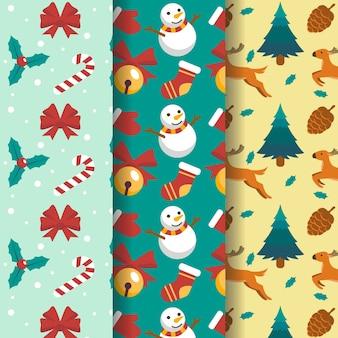 フラットクリスマスパターンコレクション