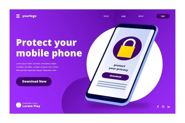 スマートフォンを使用したテクノロジーのランディングページ