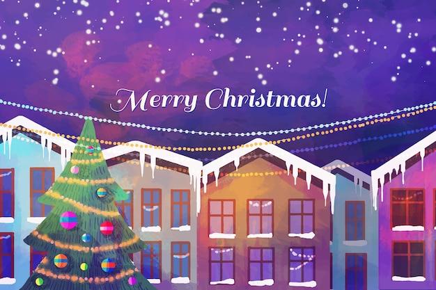 水彩でクリスマスタウンのコンセプト