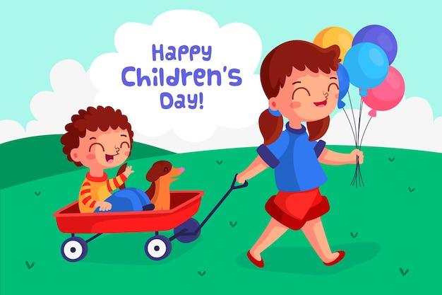 フラットなデザインの子供の日