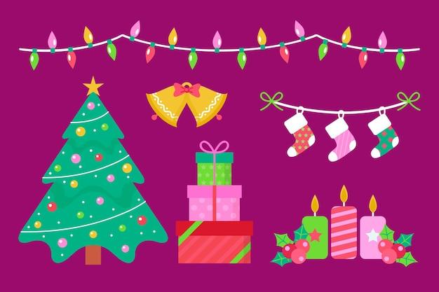 フラットなデザインのクリスマス装飾セット