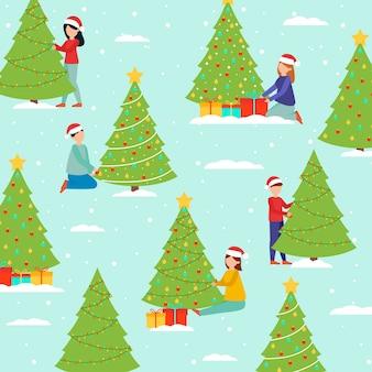 クリスマスツリーパックを飾る人々