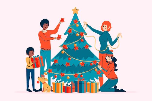 クリスマスツリーを一緒に飾る人々