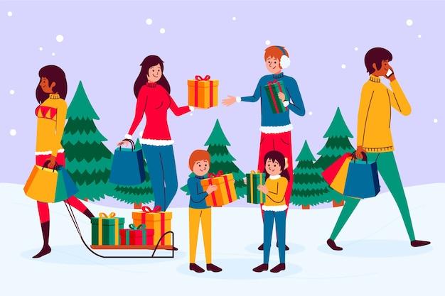 Молодые люди покупают рождественские подарки