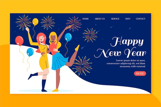 新年のランディングページの手描きテンプレート