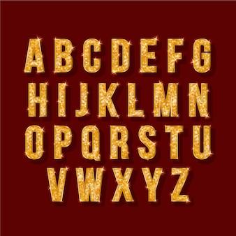 黄金の輝くイラストクリスマスアルファベット