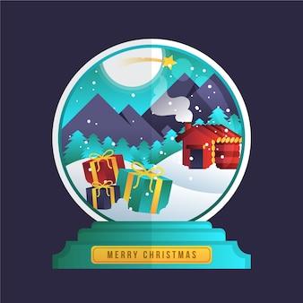 Плоский дизайн рождество снежный шар фон