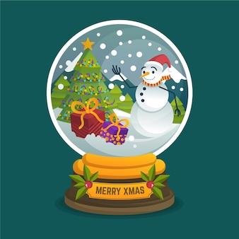Плоский дизайн новогодний снежный шар обои