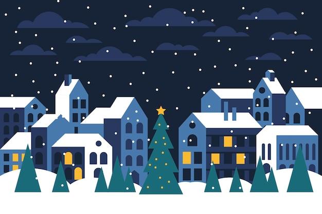 Рождественский городок плоские обои дизайна