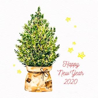 水彩のクリスマスツリーの背景色