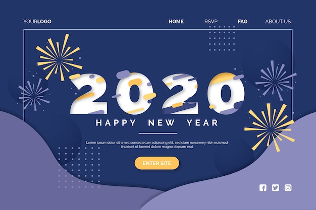 Плоский дизайн новый год шаблон страницы посадки